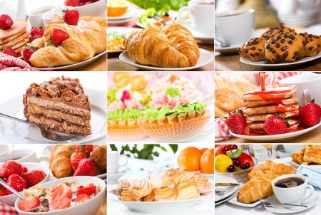 panqueques: collage con diferentes productos dulces Foto de archivo