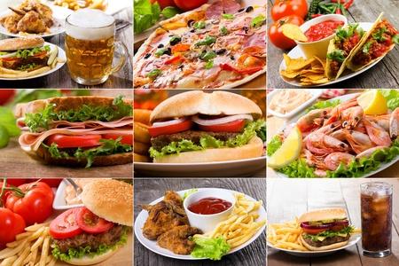 comida chatarra: collage de productos de comida r�pida Foto de archivo