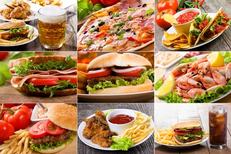 lunch food: collage of fast food products