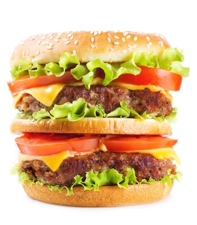 burger and fries: double hamburger on a white background