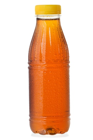 brown bottle: bottle of ice tea on white background Stock Photo
