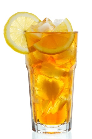 glass of ice tea with lemon on white background photo