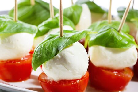 mozzarella with tomatoes and basil Stock Photo - 13051649