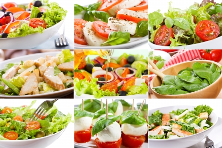 collage with different salad