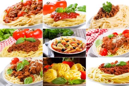 spaghetti saus: collage met verschillende pasta Stockfoto