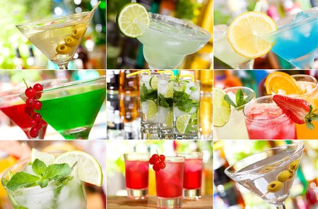 collage with different cocktails  photo