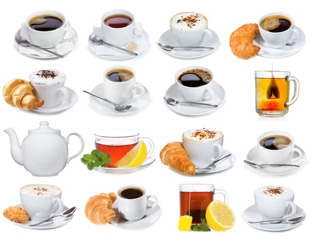 set with different cups of coffee and tea on white background photo