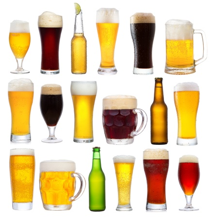 beer drinking: set with different beer on white background