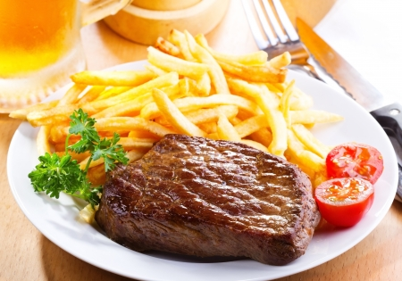 grilled steak: grilled steak with french fries