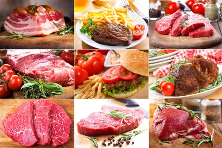 collage with different meat  photo