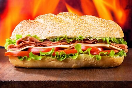 ham sandwich: sandwich with bacon and vegetables