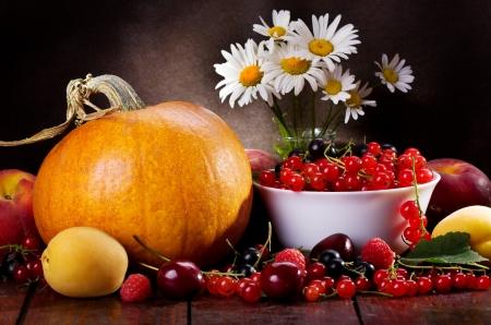 Stilleben mit verschiedenen frischen Früchten, Beeren und Gemüse Standard-Bild