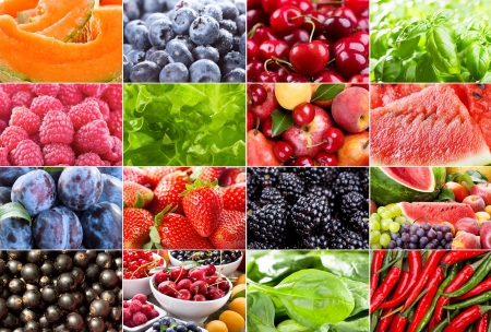 collage with different fruits, berries, herbs and vegetables