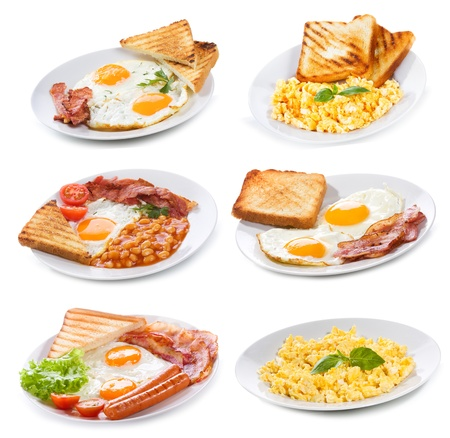 set with various plates of fried and scrambled eggs on white background photo