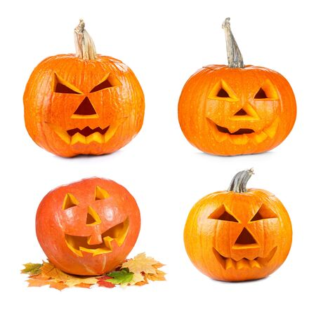 carved pumpkin: set with various halloween pumpkins on white background Stock Photo