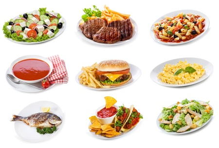 set with  plates of various food products on white background photo