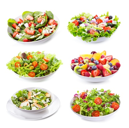 fresh spinach: set with different salads on white background