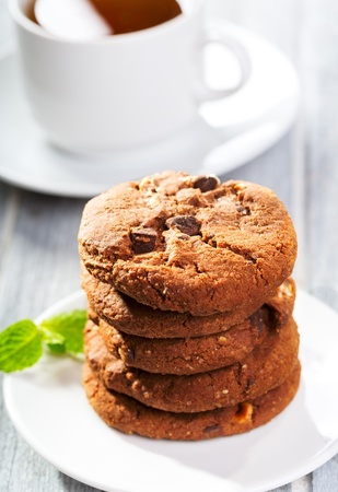 stack of cookies and cup of tea Stock Photo - 15638941