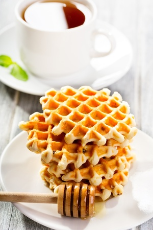 stack of waffles with honey Stock Photo - 15638940