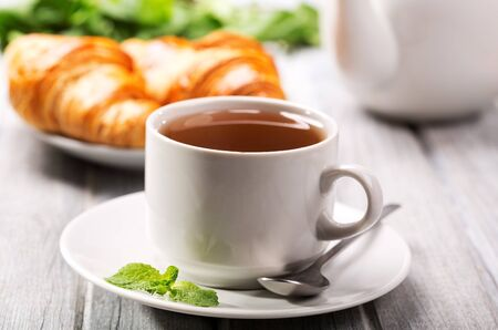 cup of tea and croissants Stock Photo - 15774513
