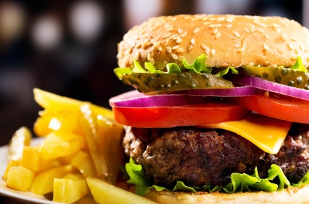 cheeseburger with fries: hamburger with fries Stock Photo