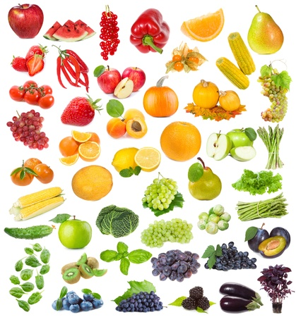 set with fruits, berries and herbs on white background photo