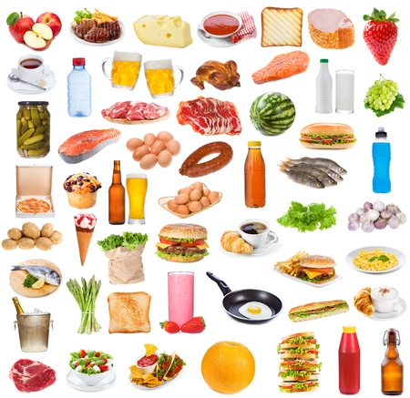 Food collection  on white background Stock Photo - 16409488