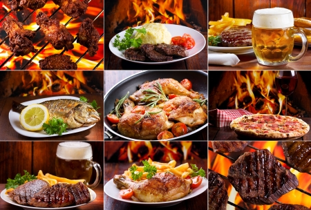 grilled steak: collage of various meals with meat, fish and chicken