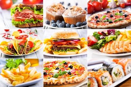 comida rápida: collage de diversos productos de comida r�pida Foto de archivo