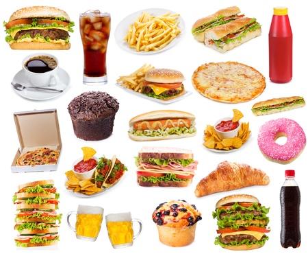 comida chatarra: Set con productos de comida r�pida en el fondo blanco Foto de archivo