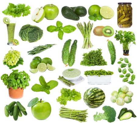 set with green food on white background photo