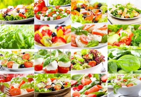 ensalada cesar: collage con ensalada de diversas Foto de archivo