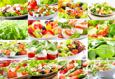 collage with various salad