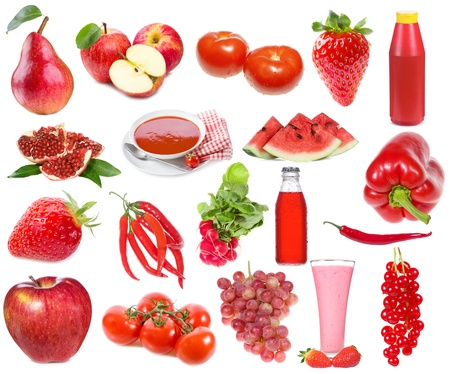 set with red food and drinks on a white background photo