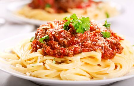 plate of spaghetti with meat sauce photo