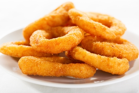 fryer: onion rings on a plate Stock Photo