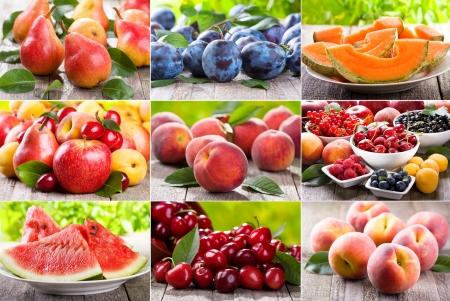 collage van verschillende verse vruchten en bessen