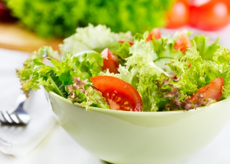 bowl of  salad with vegetables and greens Stock Photo - 18020687