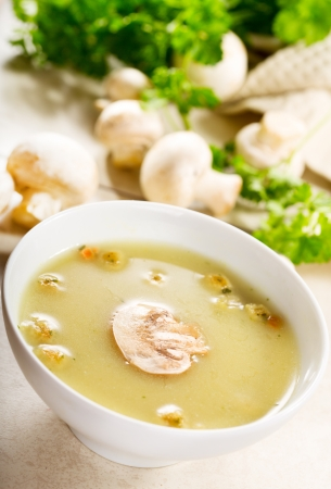mushroom soup: mushroom cream soup with fresh parsley Stock Photo