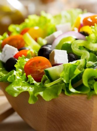 salad greens: greek salad in a bowl