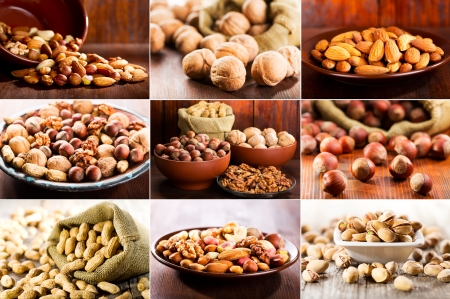 Collage of various nuts photo