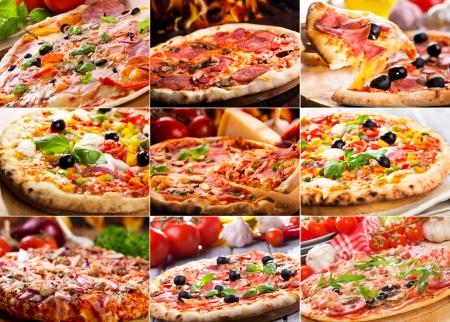 Collage aus verschiedenen pizza Lizenzfreie Bilder