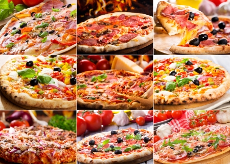 collage van verschillende pizza Stockfoto