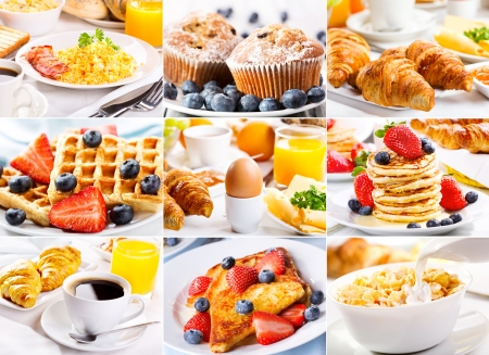 collage of breakfast with eggs, coffee, croissants, pastry and fruits photo