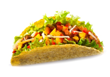 taco tortilla: taco with meat vegetables on white background