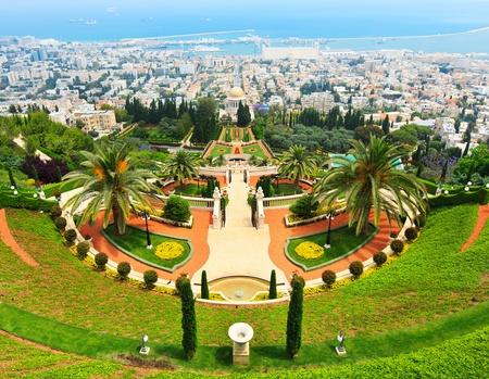 bahai: Bahai Gardens in Haifa Israel Stock Photo