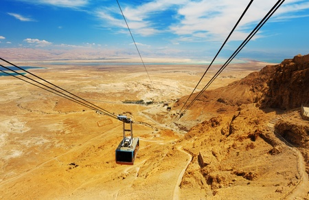 and israel: Cable car in fortress Masada, Israel