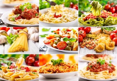 collage met verschillende pasta Stockfoto