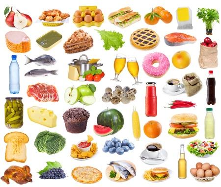 Voedsel collectie geïsoleerd op witte achtergrond  Stockfoto