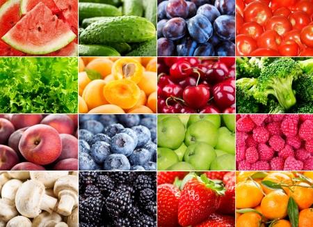 collage met verschillende vruchten, bessen, kruiden en groenten